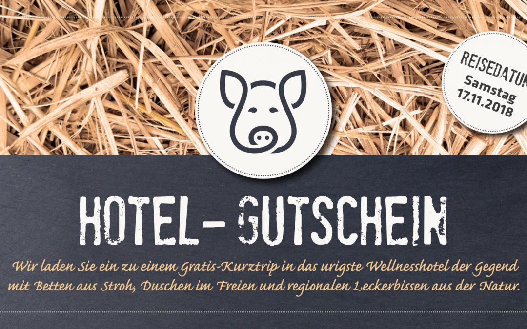 Einladung zur Fahrt ins Schweinehotel