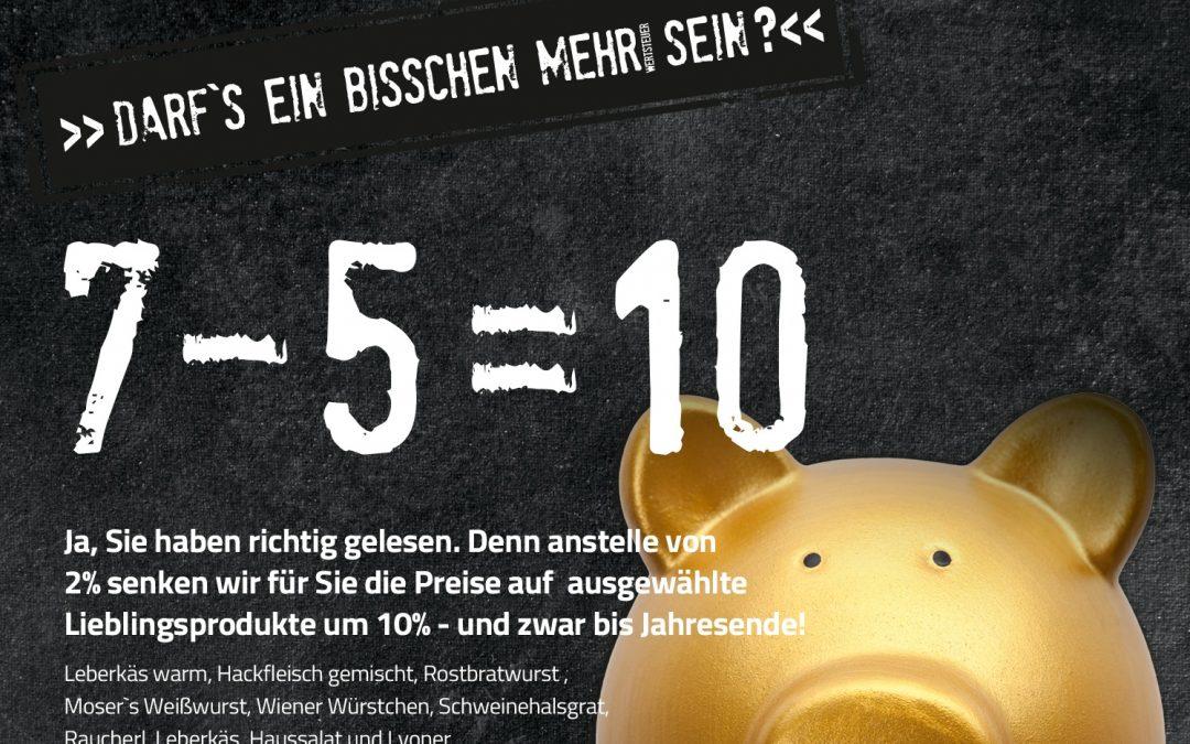 7-5=10  –  Unsere Aktion zur MwSt-Senkung!